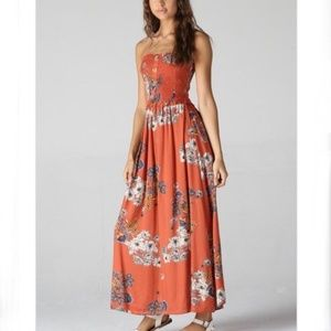 Burnt Red Sleeveless Floral Maxi Dress